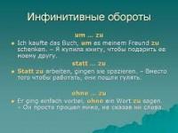 Инфинитивные группы и обороты в немецком языке