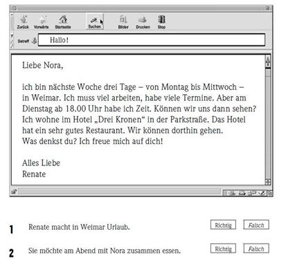 картинка Задание №1 комплекта примеров экзаменационных заданий Start Deutsch 1 по части Чтение