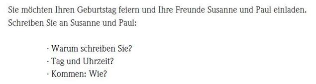 картинка Задание №2 на экзамене по немецкому языку А1 части Письмо