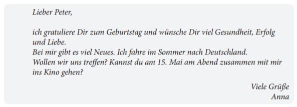 Пример неофициальной открытки-поздравления экзамена Старт Дойч А1 по немецкому языку: