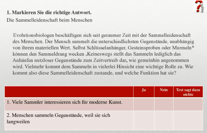 пример части Чтение Test Daf (Тест Даф) по немецкому языку