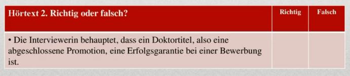 пример ответа для аудирования экзамена Test Daf (Тест Даф) по немецкому языку