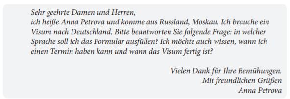 картинка пример официального письма экзамена Старт Дойч А1 по немецкому языку