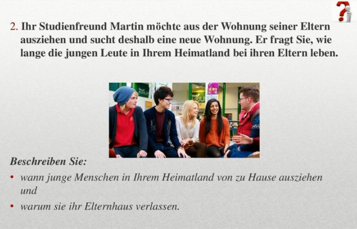 фото пример задания по устной части экзамена Test Daf (Тест Даф) по немецкому языку